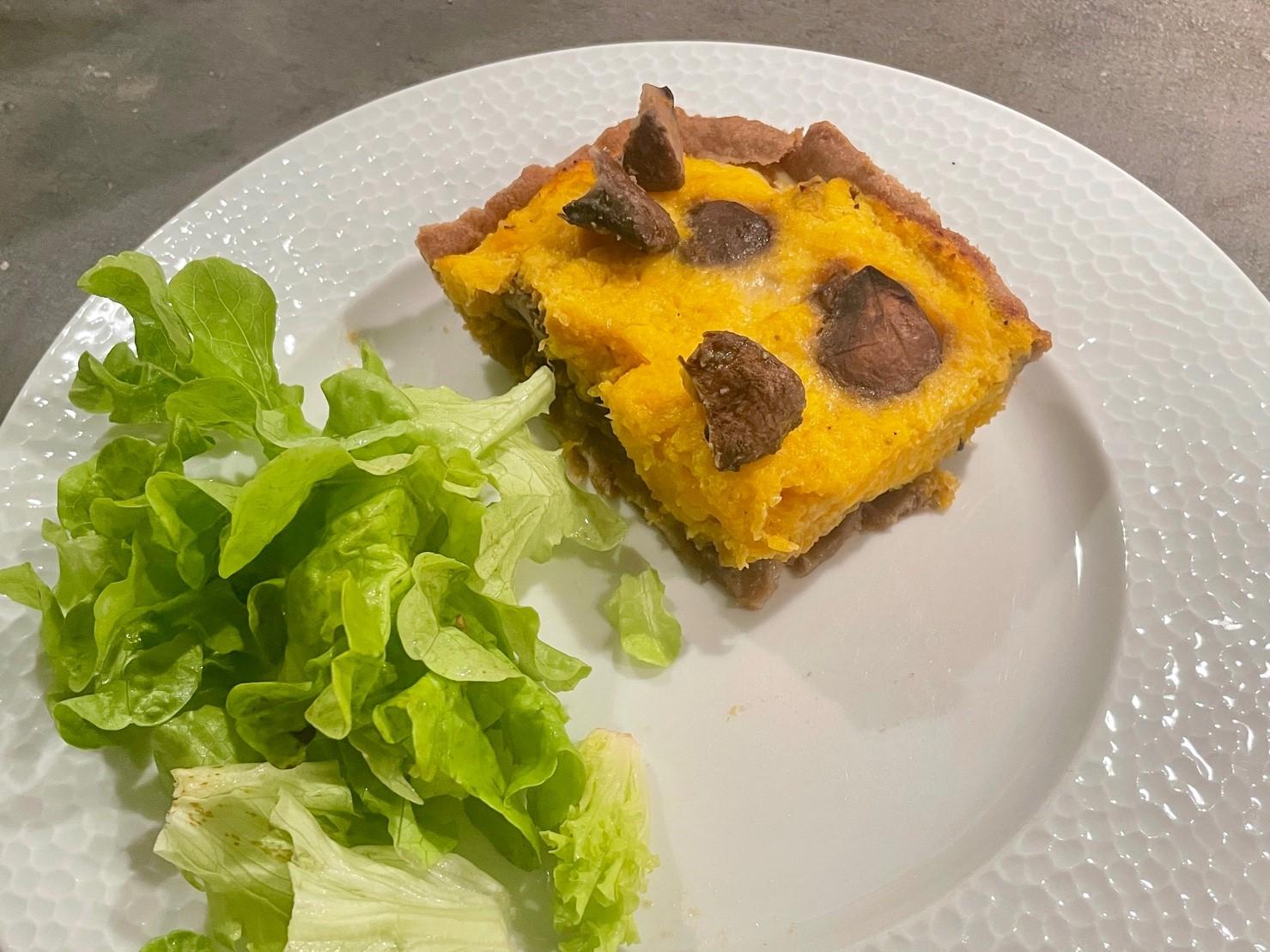 Tarte à la butternut et champignons